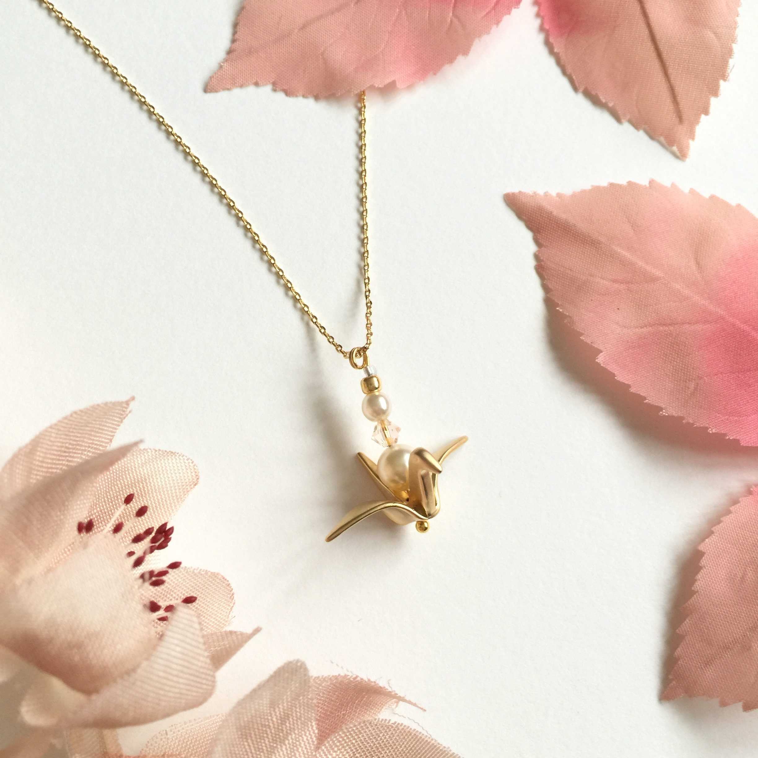 """Wish Me Luck"" Origami Crane Bridesmaid Necklace ... - photo#36"