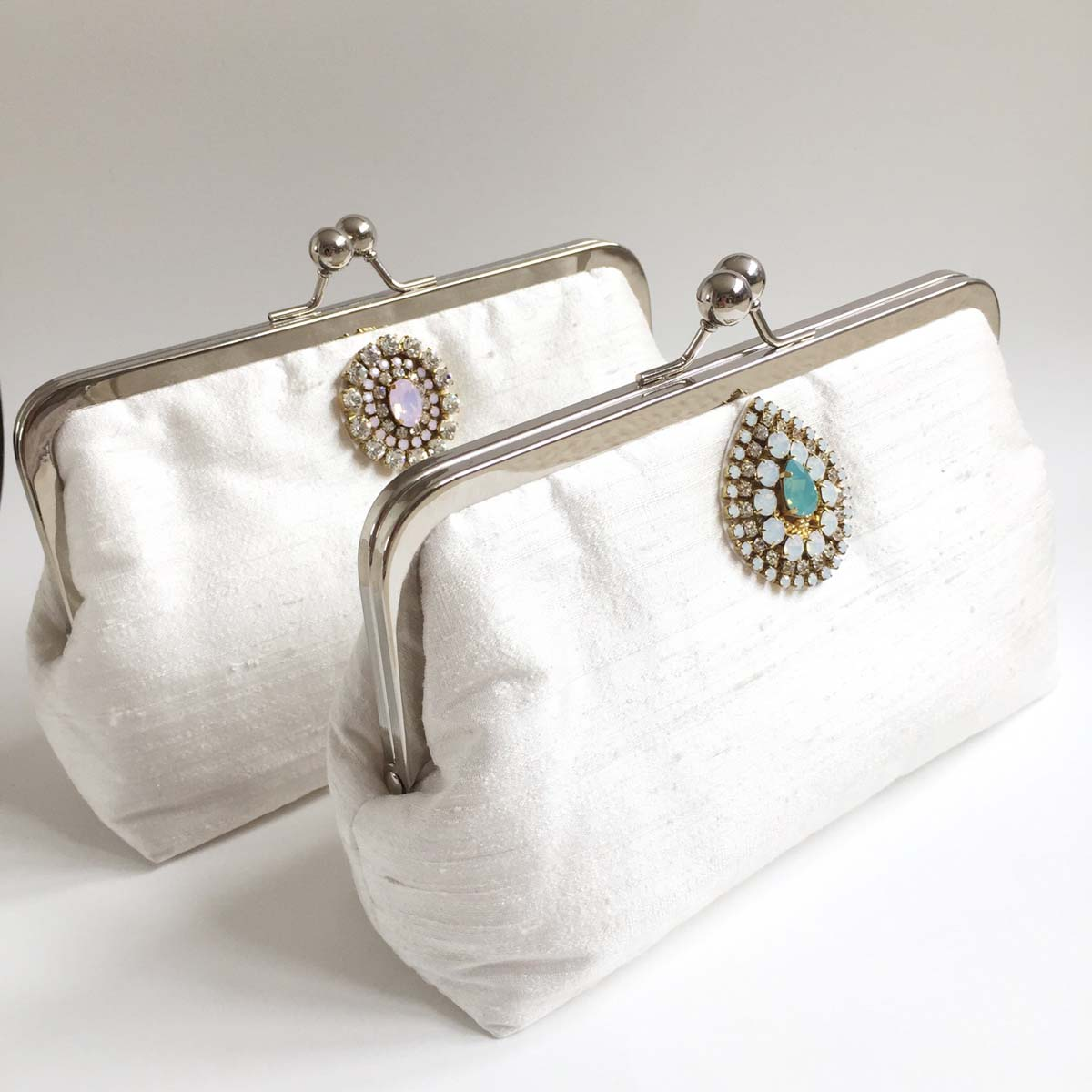 Handmade Raw Silk Beaded Bridal Clutch Bag No.2 - Victoria Millesime