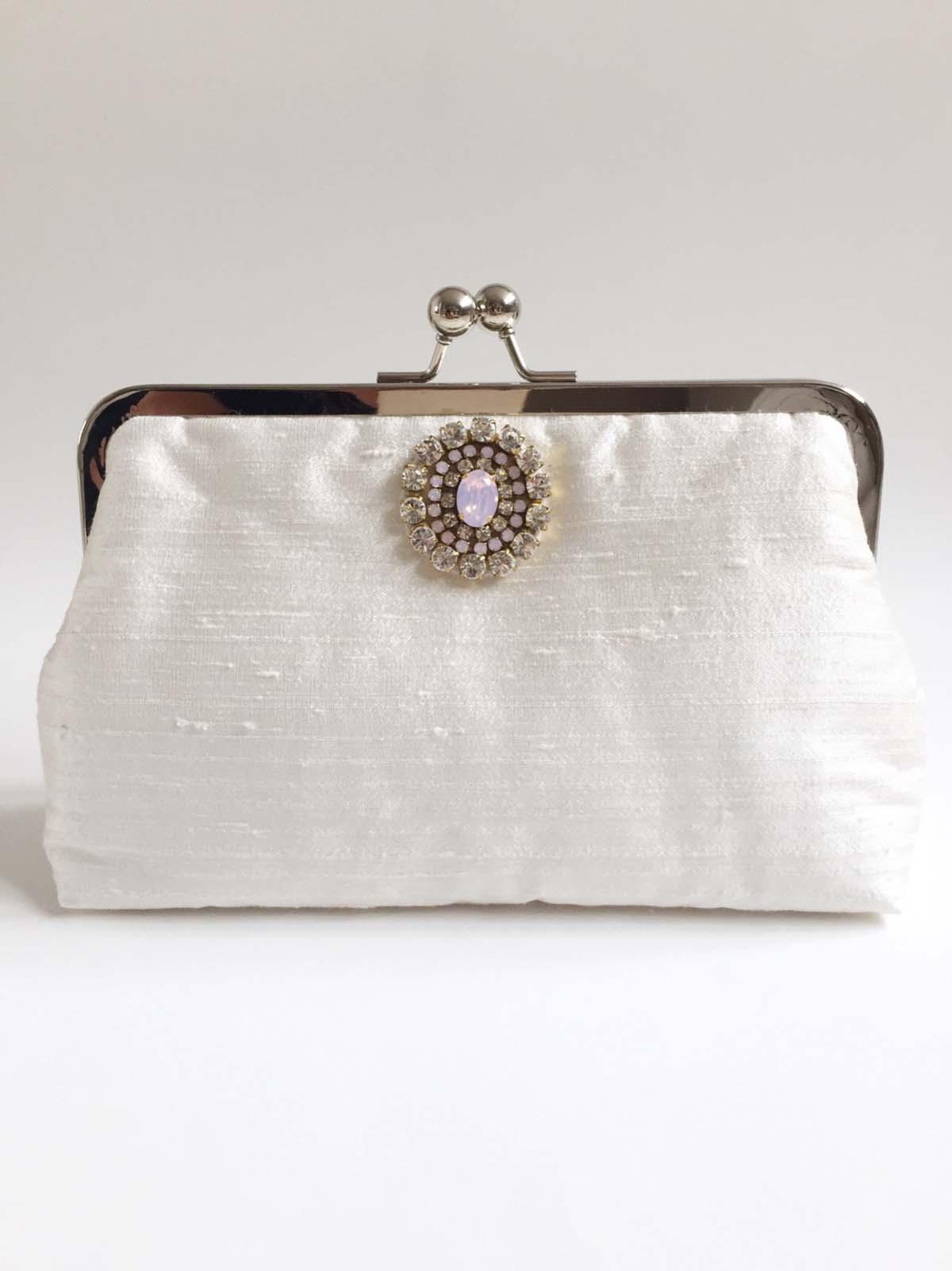 Handmade Raw Silk Beaded Bridal Clutch Bag No.1 - Victoria Millesime