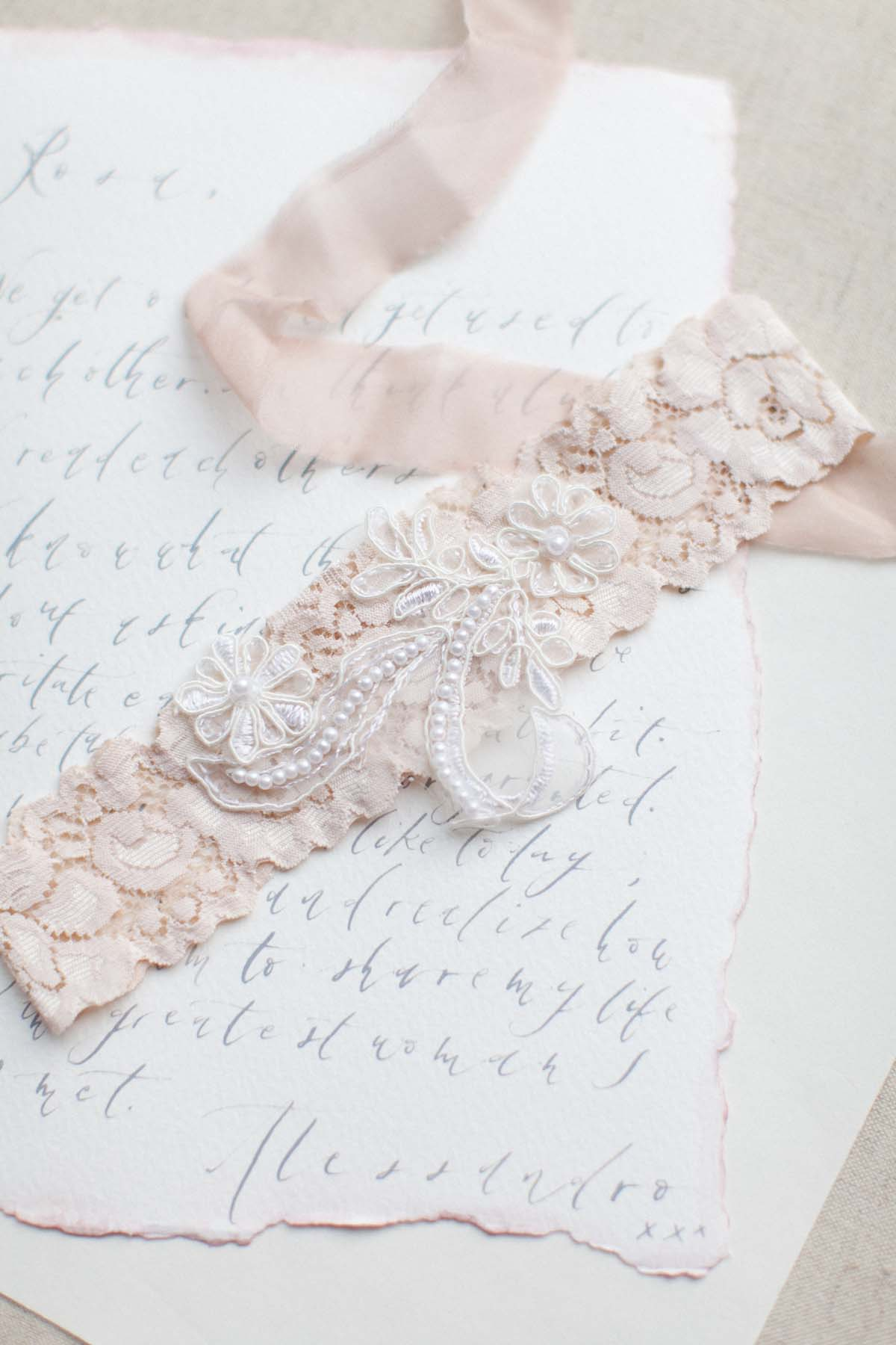 Ivory beaded wedding garter in blush pink nude or ivory for Garter under wedding dress