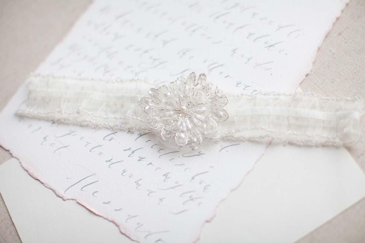Ivory Organza Beaded Edge Wedding Garter - Victoria Millesime